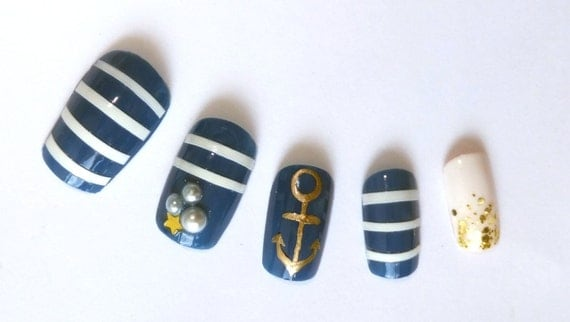 3D Acrylic Nails Nautical Sailor Ocean Stripes Beach