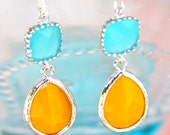 Aqua Blue Turquoise Square Mustard Yellow Pear Tear Drop Silver Glass Jewel Rhinestone Dangle Earrings - Bridesmaids Earrings, Beach, Preppy - heathernn1