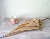 Vintage Frilly Umbrella in Soft Caramel - thefoxandthespoon