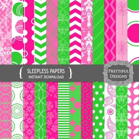 50% Off Sale Digital Paper Pack Chevron Damask Polka Dot Hot Pink Lime Green Sleepless (681)