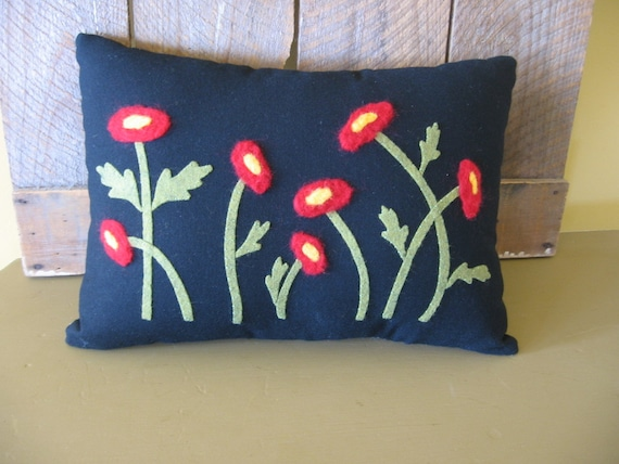 Needle Felted Red Poppy Flower Folk Art Primitive Applique Pillow