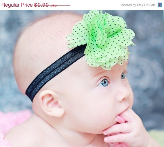 45% OFF Sale - Shabby Flower Headband - Baby Headband - Mint Green Polka Dot Headband