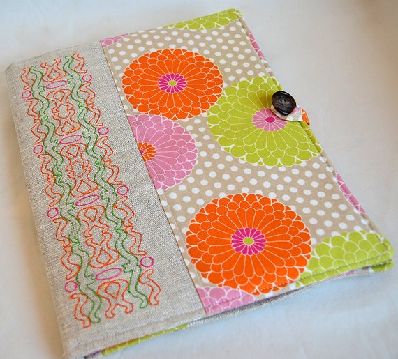 Embroidered on Linen  Beautiful Modern Geometric Padded eReader/Tablet Cover (All Models Available)