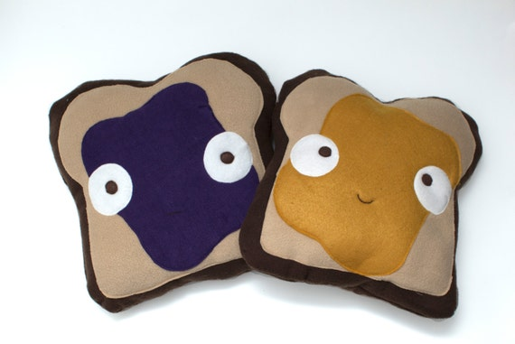 Decorative PB & J Toast Pillow Set