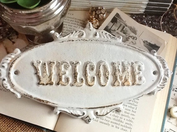 White WELCOME Sign PlaqueRustic Cast Iron Old by AlacartCreations