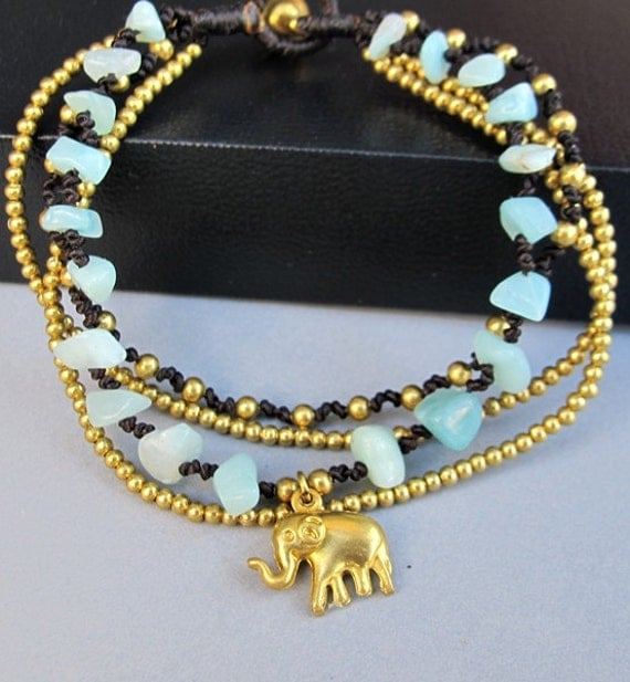 Mini Elephant with Multi Strand Amazonite and Brass Bead Bracelet