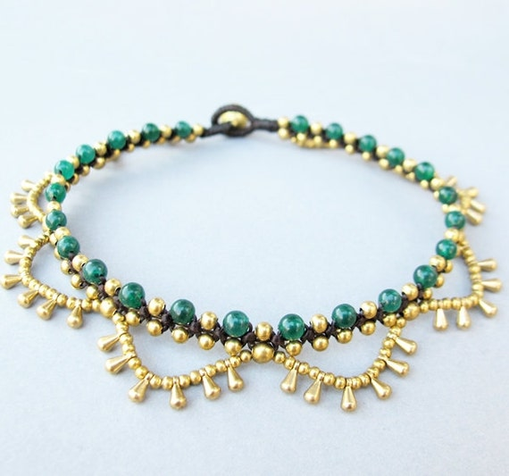 Boho Brass Bead Water drop Cascade Anklet with Jade Bead