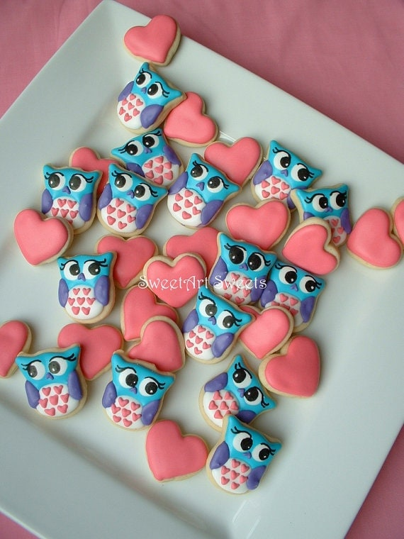 Owl cookies and Hearts - Valentine Cookies - 2 dozen