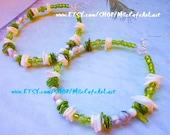 Puka Shell, Abalone Shell, White Marble Howlite, Crackle Glass Beaded Hoop Earrings - TIDE POOL