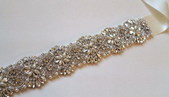Bridal beaded swarovski pearl & crystal luxury couture wedding sash/belt.  DUCHESS PEARL