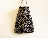 Vintage Black and White Ethnic Tribal Purse - NellieFellow
