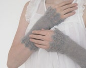 Shades of Sea Wrist Warmers in Soft Grey - KeraSoftwear