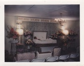 Open Casket Funeral- SET of 2- Eerie Color Polaroids- 1970s Vintage Photographs - EphemeraObscura