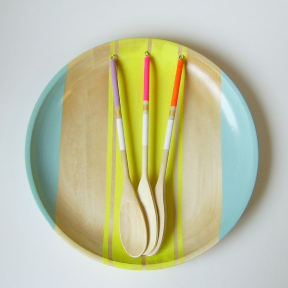 "Modern Neon Hardwood 14"" Serving Tray"