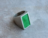 Sterling silver rectangle ring with lime green enamel