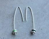 Silver Reel Earrings, green and turquoise enamel