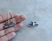 Mask silver earrings with violet and blue transparent tones enamel