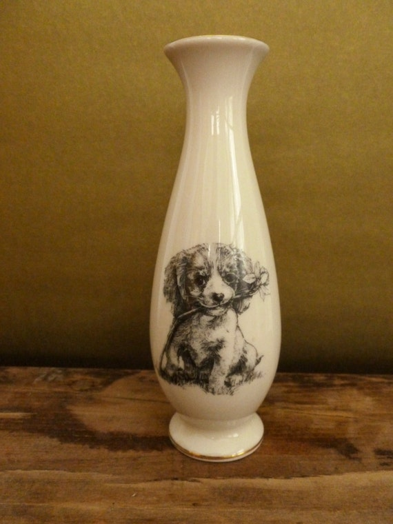 Vintage Puppy Dog Bud Vase from Small World Greetings