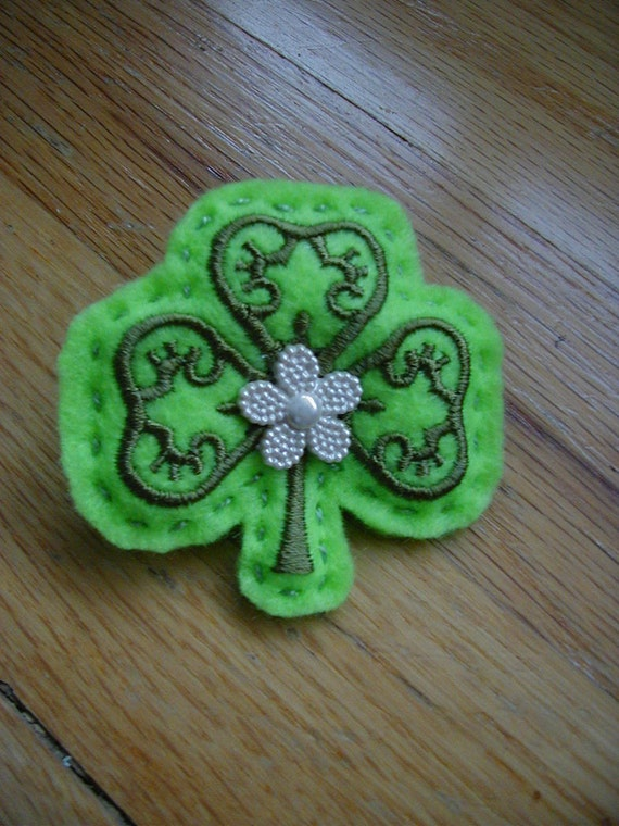 Green Shamrock Felt Pin, St. Patrick's Day