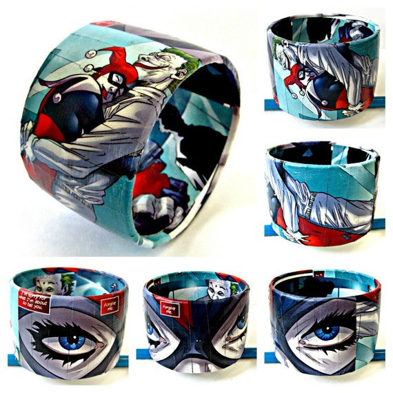 The Original Upcycled Comic Book Bracelet Featuring Harley Quinn and Joker