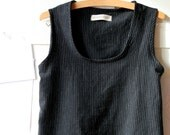 Sleeveless short pinafore for women, pure linen. Everyday smock pinafore. Size S. Black linen. - arch190