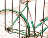 Emerald Jewel In A Drift - Bicycle, Emerald Green, Pantone, Snow, White, Fine Art Photography 8 x 10 Giclee Print, Wall Art - stilldez