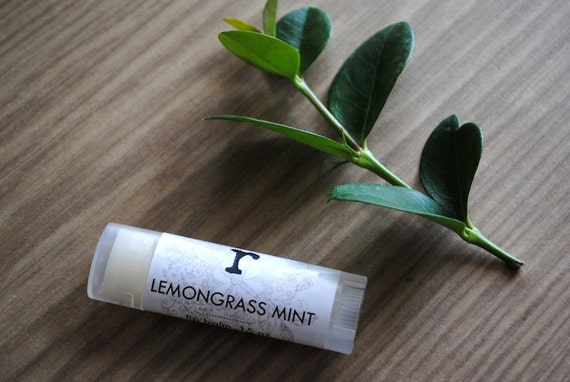 Lemongrass Mint Lip Balm - Beeswax, Shea Butter, Coconut Oil, Summer Lip Butter