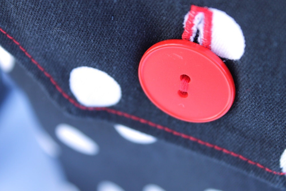 reusable gift bags polka dots red black white vintage buttons Valentines wrapping ladies women