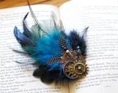 Steampunk Hair Clip, Steampunk Feather Hair Clip, Turquoise Hair Clip, Steampunk Feather Fascinator Steampunk Wedding, Prom Hair - LilyMairi