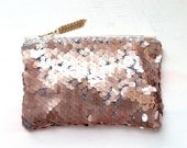 R O S E GOLD Sequin Clutch. Neutral Metallic Evening Clutch. Pink Quartz Pouch. - GiftShopBrooklyn