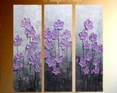 "Original 3 Panel  DEEP Gallery canvas abstract  Modern 36"" palette knife signature Impasto floral Oil painting by Nicolette Vaughan Horner - artmod"