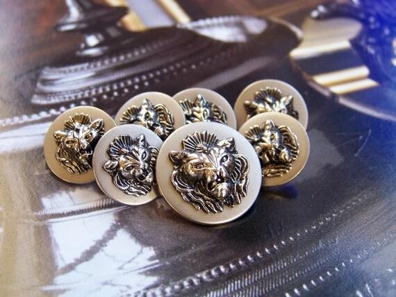 Silver Fierce Lion Round Buttons