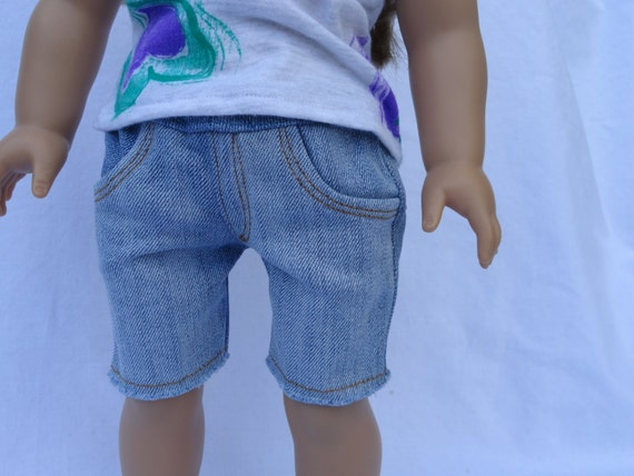18 Inch Doll/American Girl Outfit- Cute Cutoff Jeans And Your Choice of Top