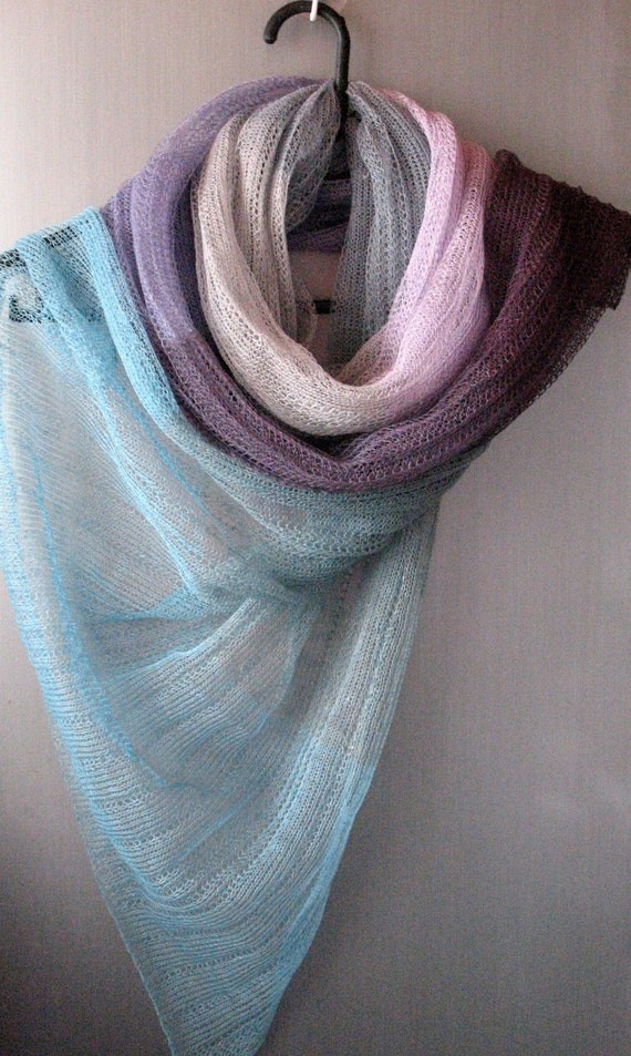 Linen Scarf Shawl Wrap Stole Blue Azure Gray Violet Multicolored, Light, Transparent