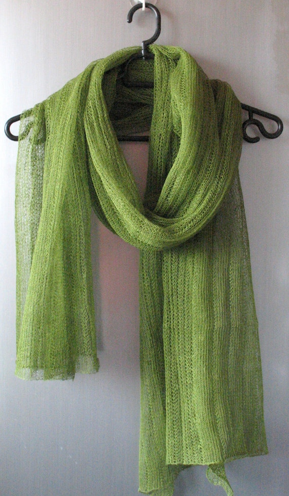 Green Linen Scarf Shawl Wrap Stole Moss Salad Light, Transparent