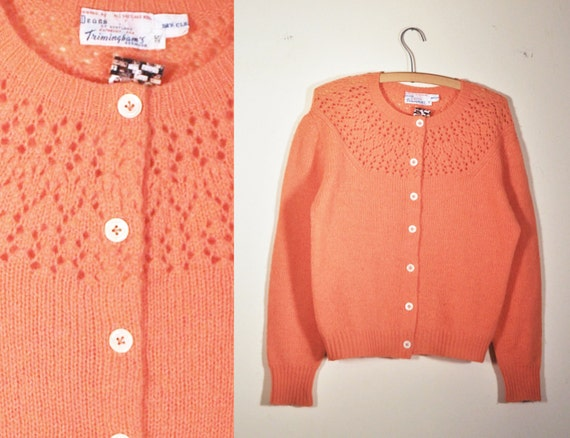 1960s peach scottish wool spring cardigan with lace knit yoke