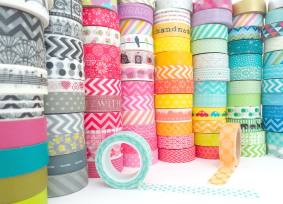 Pick 8 Whole Rolls of Assorted Washi Tapes: 159 Patterns