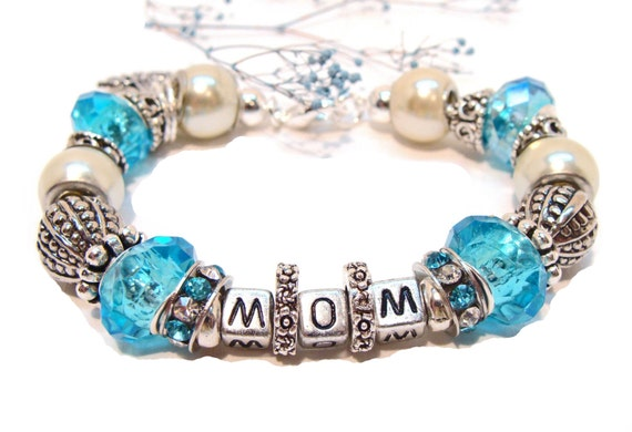 "Special ""MOM"" Aqua Charm Bracelet with Euro Style Beads and Crystals"
