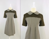 Vintage 1960s Mod Dress w/ Peter Pan Collar in Brown & White Check - Medium - TwoMoxie