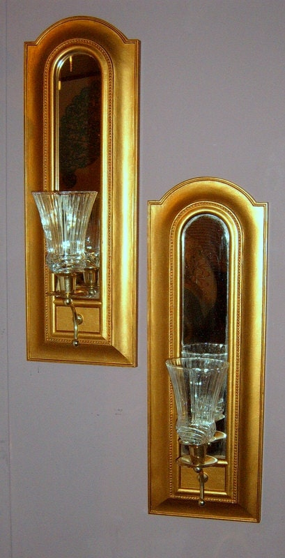 Upcycled Syroco Sconces Gold Sconces Wall Decor by CissysCrafts