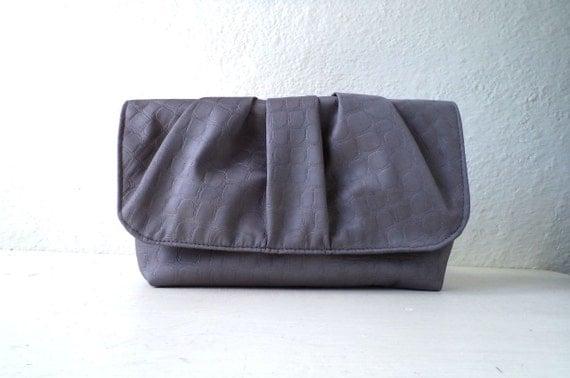 Vegan Clutch, pleated handbag,wedding clutch,Faux Crocodile in light grey,Bridesmaids Clutch.