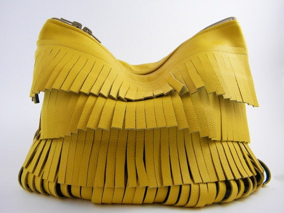 Fringes Leather Statement Clutch