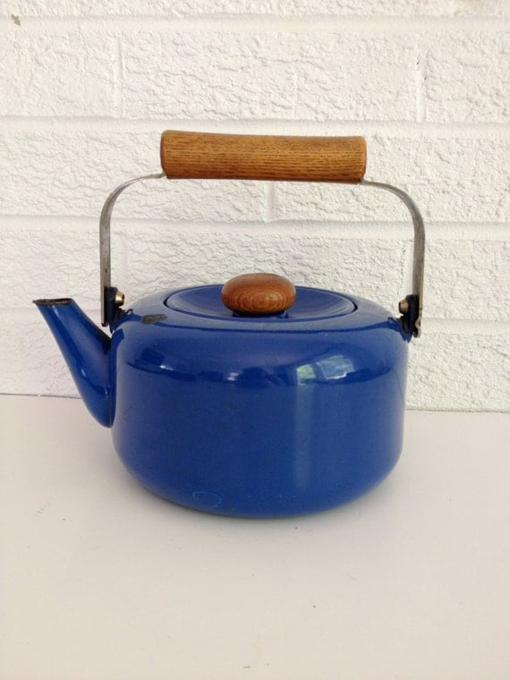 Vintage Blue Enamel Tea Kettle