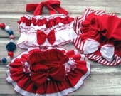 Ruffle Bloomer TuTu Skirt Set July 4th Beach wear doubles as a Swimsuit Baby Newborn Toddler Ruffle Diaper Cover Bloomers Memorial Day 6897 - HottieTottieGirl