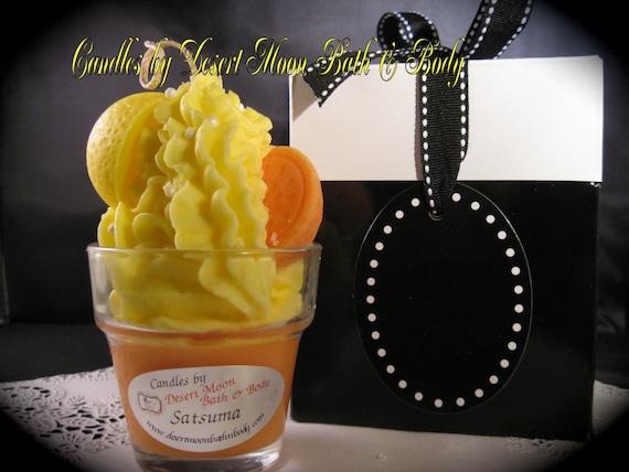 Satsuma Cupcake Candle with Natural Soy Wax Blend & Gift Box