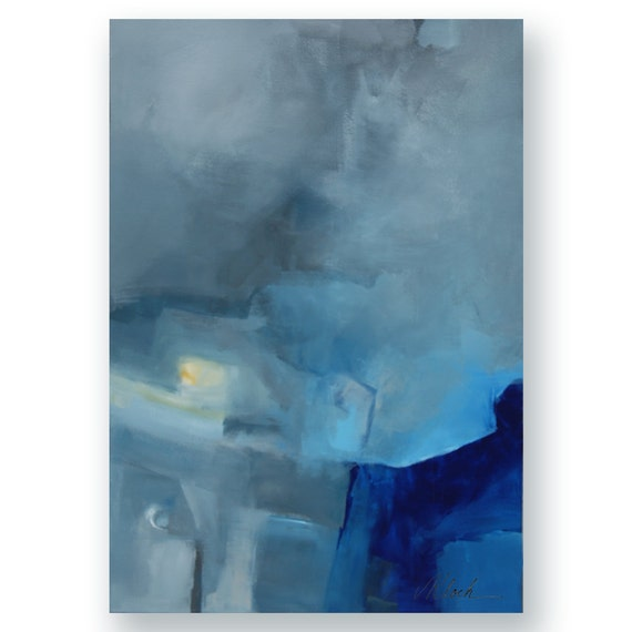 "Minimalism art large abstract painting by Victoria Kloch Titled: Today in blue, gray and yellow 24"" x 36"""