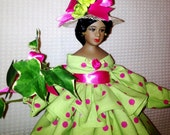 African American OOAK Handcrafted Black Sorority Doll in Pink and Green Personalized Free