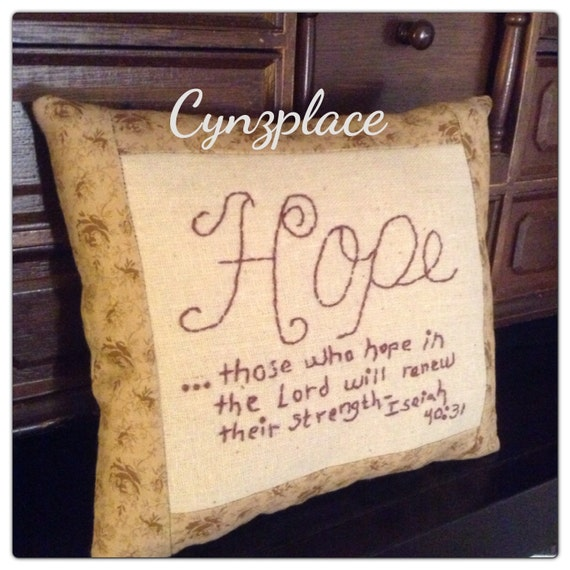 Handmade Hope scripture pillow tuck