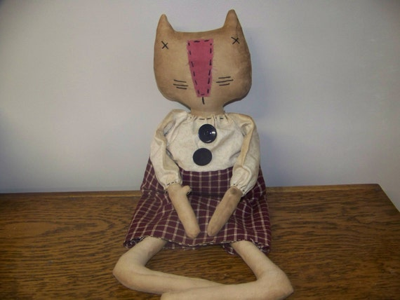 Miss Kitty Grungy Primitive Fabric Art Doll/Shelf Sitter/Hanger