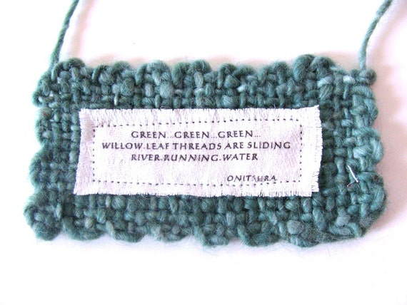 Green Willow River Wall Hanging Small Handwoven Handspun Spring Japanese Haiku